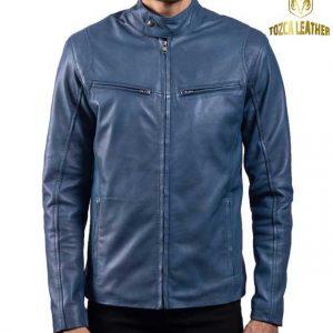 Jaket Kulit Biru Muda Pria KP124