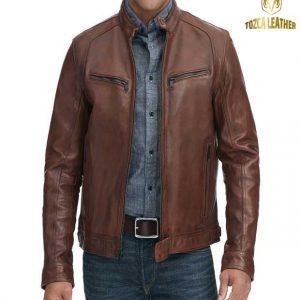 Jaket Kulit Cokelat Muda Pria KP125