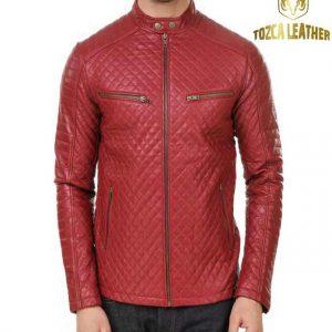 Jaket Kulit Merah Muda Domba Asli KP129