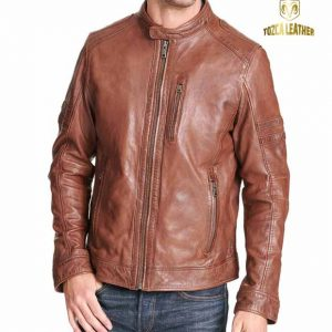 Jaket Motor Tan Medium Kulit Domba KM114