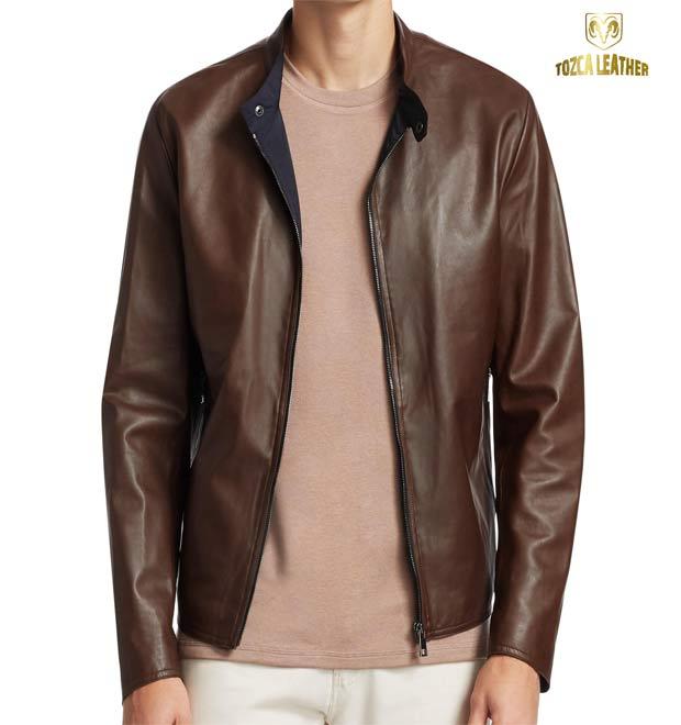 Jaket Cokelat Muda Asli Kulit Garut KP132