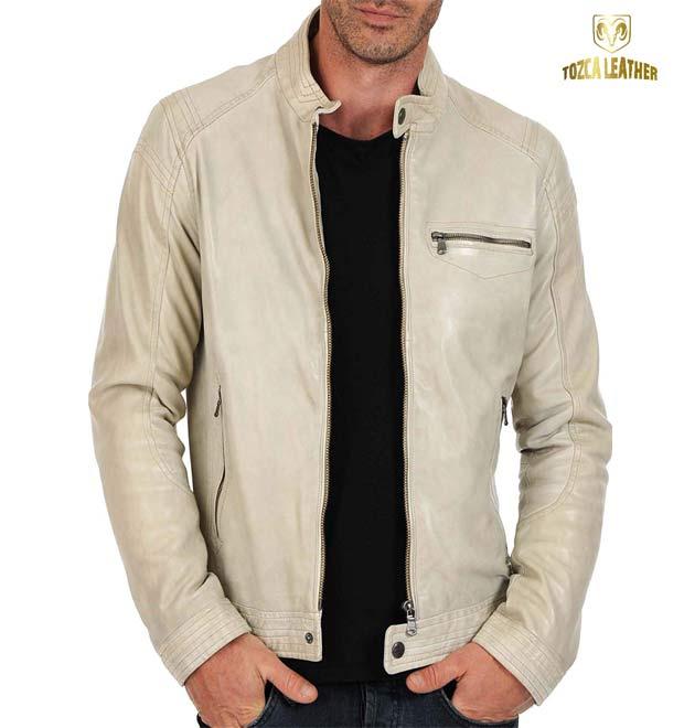 Jaket Putih Tulang Kulit Domba Super KP131