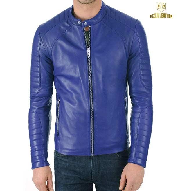 Jaket Slim Fit Biru Muda Domba Super KM117