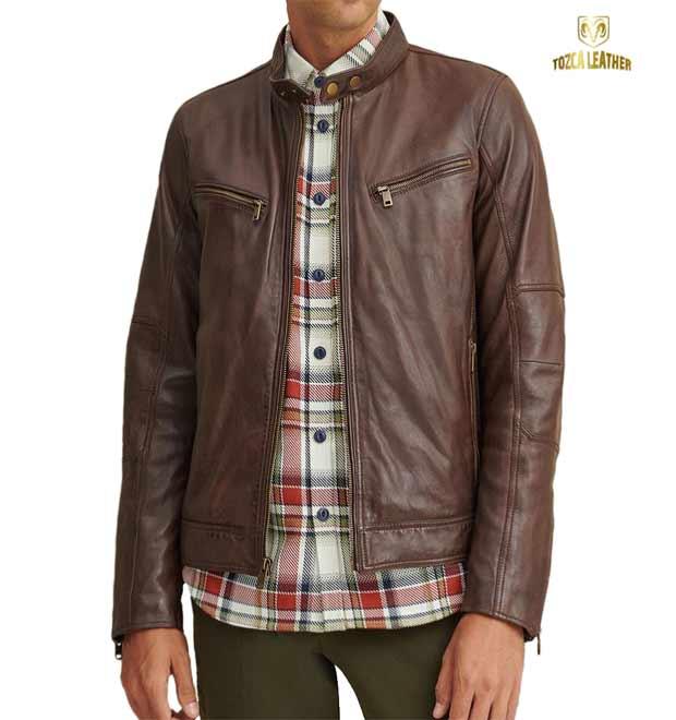 Jaket Cokelat Muda Asli Kulit Domba KP135