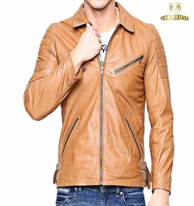 Jaket Kulit Touring Pria Tan Muda KM121